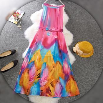 Colorful Floral Strap Dress