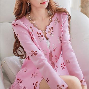 Craft Cut Flowers Long Sleeve Casual Coat