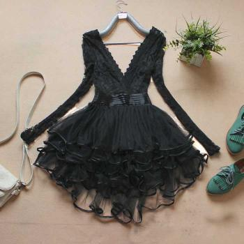 Black Long Sleeve Lace Dress