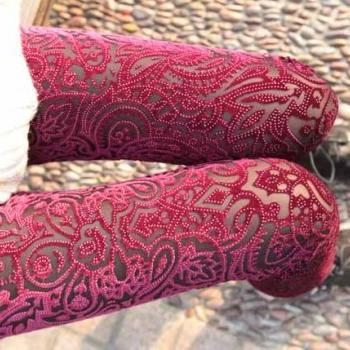 Dark Red Velvet Legging