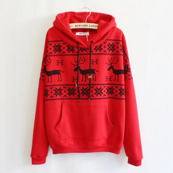 Hooded Pullover Sweater With Deer Print