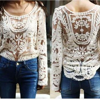 Long Sleeve Lace Top In Beige