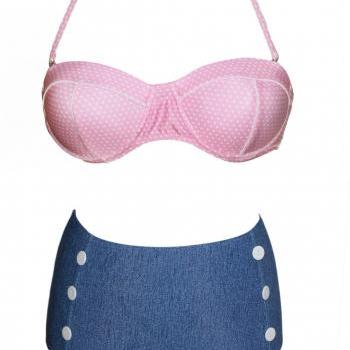 Vintage Bikini Set In Pink And Blue