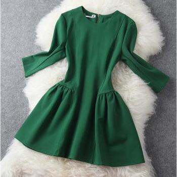 Long Sleeve Dress In Green