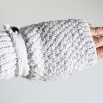 Handmade Knitted Fingerless Gloves -light Grey