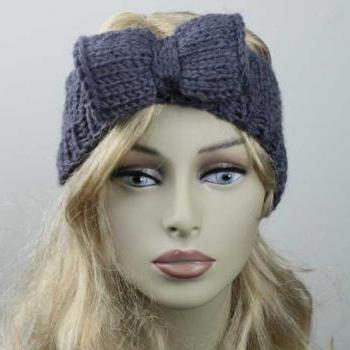 Woman Handmade Knitted Crochet Headband Head Warmer With Bow Hat Cap Grey