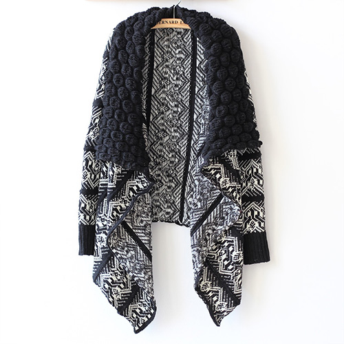 Fashion Contrast Color Irregular Hem Knitting Cardigan