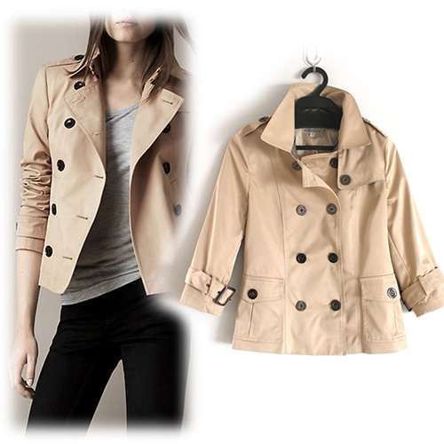 Fashion Double-Breasted Pure Color Short Trench Coat