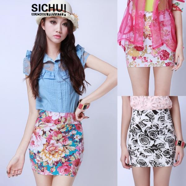 VINTAGE HIGH WAISTED FLOWER Wrap SKIRTS TIGHT SHORTS