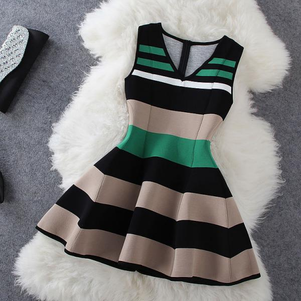 Fashion Stripe Sleeveless V-neck Dress #BA808CH