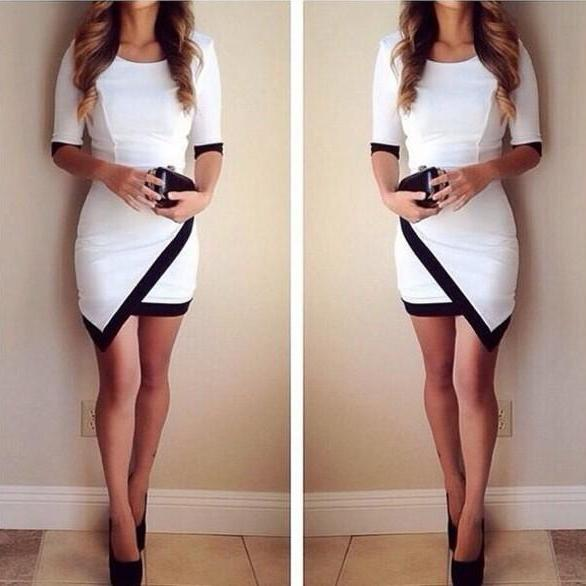 HOT BLACK & WHITE CUTE DESIGN DRESS