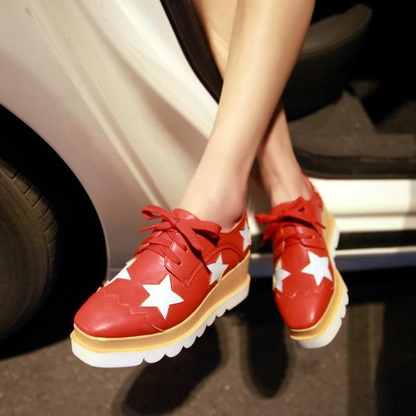 Preppy Fashion Girls Wedge Heels Lace Up Oxford Womens Platform Shoes RedJ011