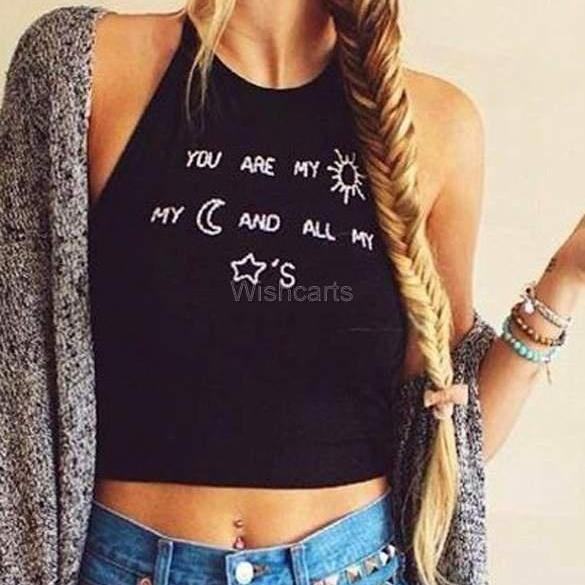Sexy Women's Sleeveless O-neck Letter Print Backless Straps Crop Tops
