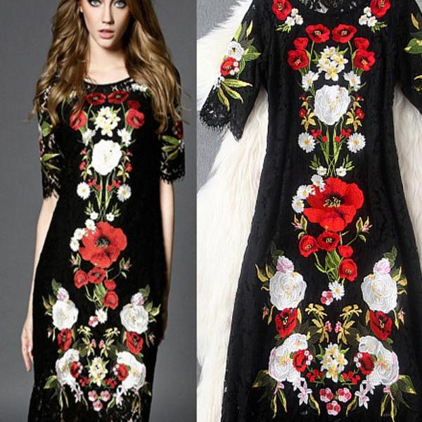 Italy 2017 Summer New Runway Fashion high Embroidered Floral Black Lace Dress