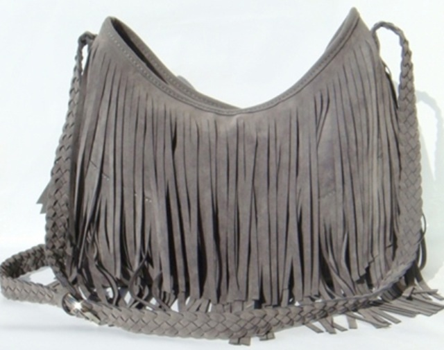 ee31f39d60 Grey Boho Fringe Purse ~ Suede Tassel Messenger Bag on Luulla