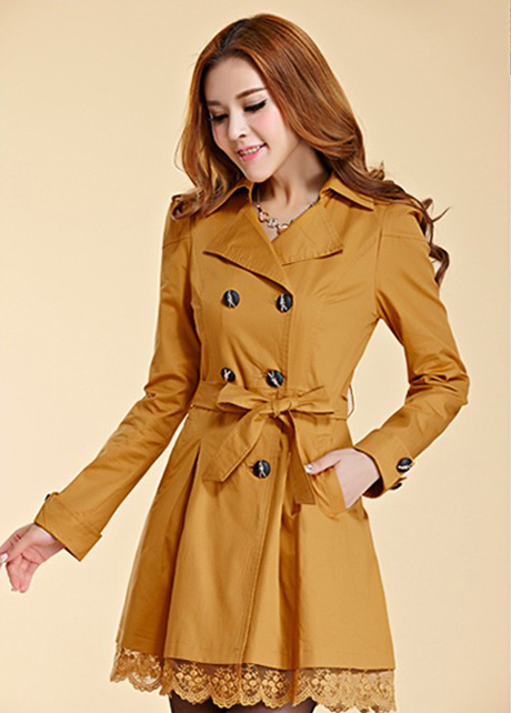 6ffac5c7596 Fashion Golden Color Trench Winter Coat For Women-Women Yellow Coat Winter  Lace Coats Polyester Wint on Luulla